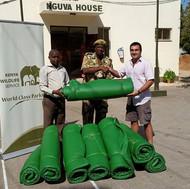 Shazaad donating matresses for wildlife rangers