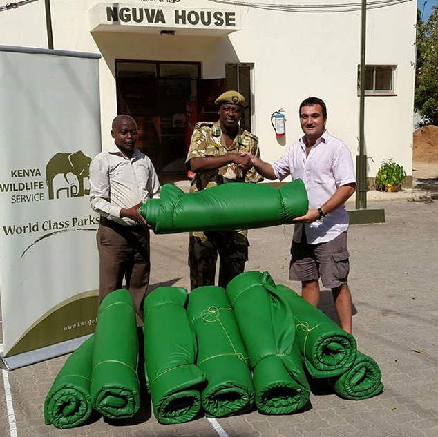 Shazaad donating matresses for wildlife rangers