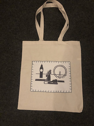 Tote Bag - Black/Grey Stitches