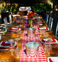 Table set for a lobster boil