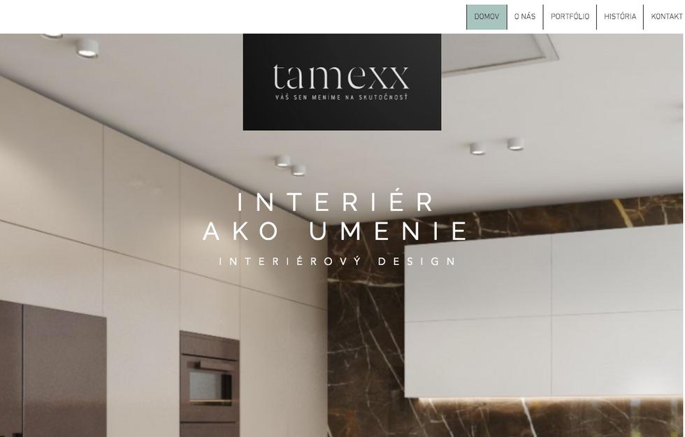 Web stránka pre spoločnosť Interiérového dizajnu