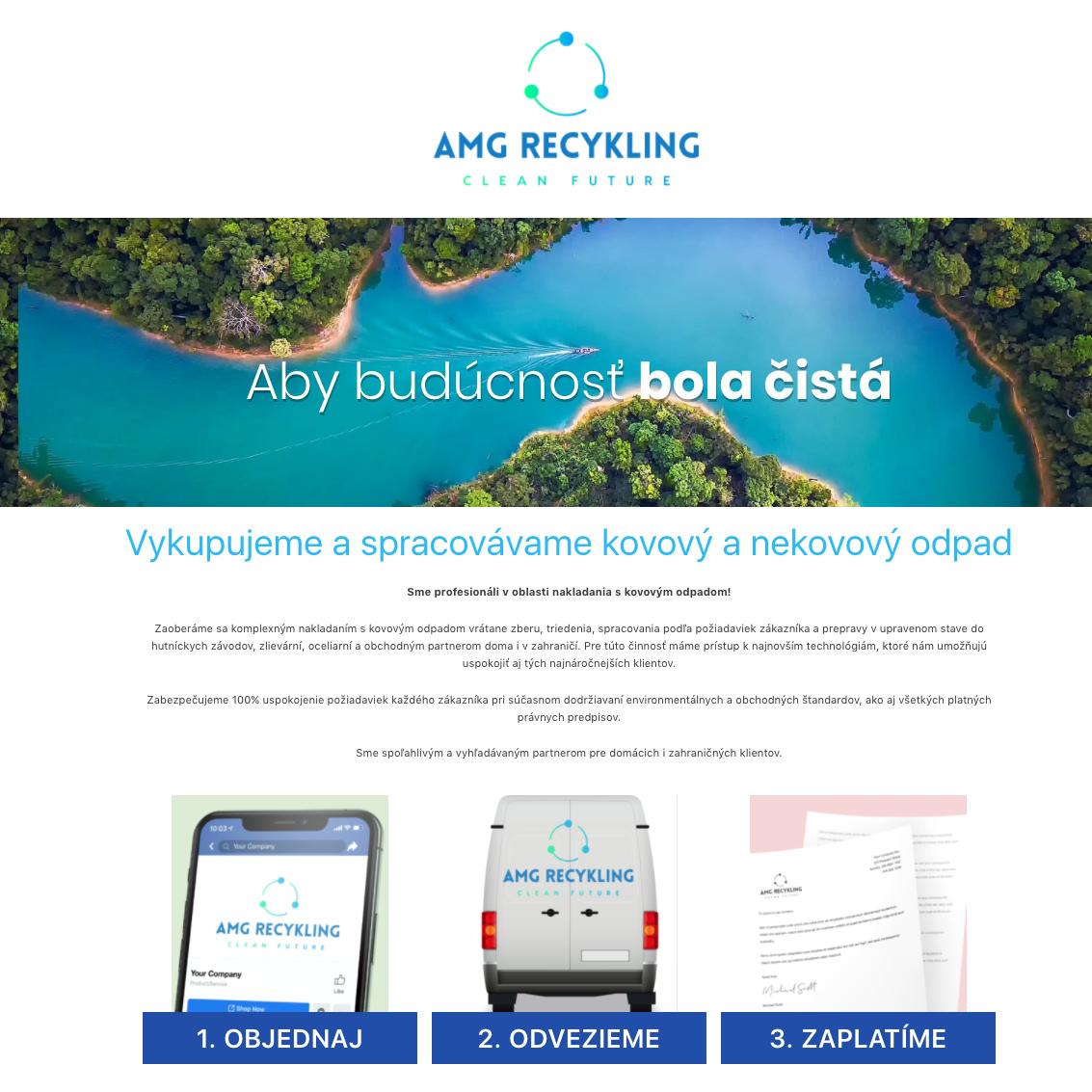 Web stránka pre spoločnosť, ktorá sa zaoberá recykláciou