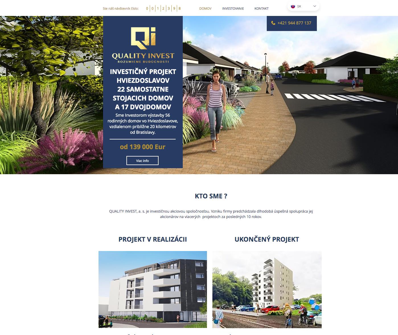 Web stránka pre Investičnú spoločnosť