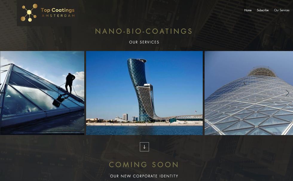 Web stránka pre Spoločnosť čisttiacu nanotechnológiu