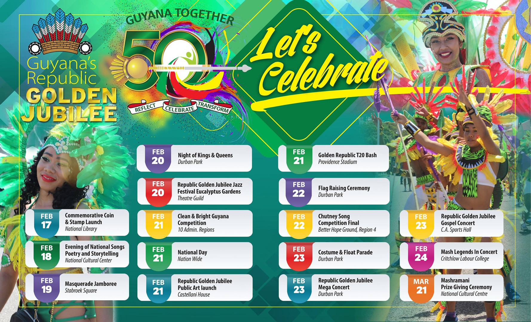 Guyana's Republic Golden Jubilee Schedul