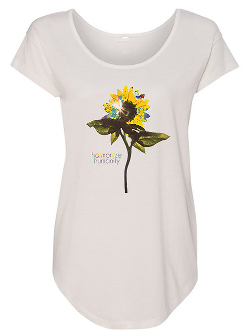 SUNFLOWER scoop neck scallop tee (white)