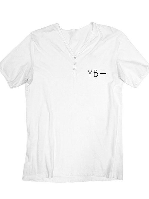 EMBROIDERED v-henley (white)
