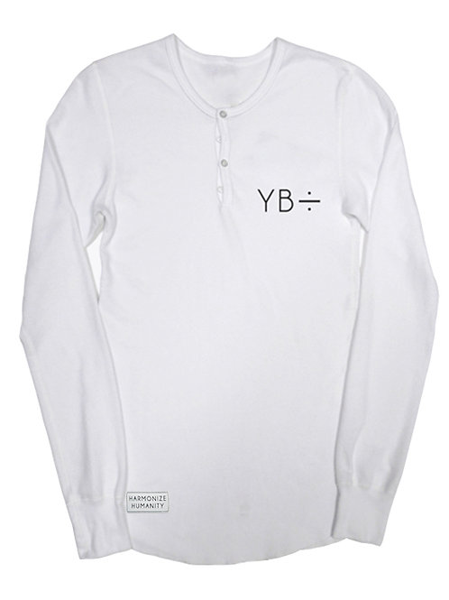 UNISEX EMBROIDERED thermal henley (white)