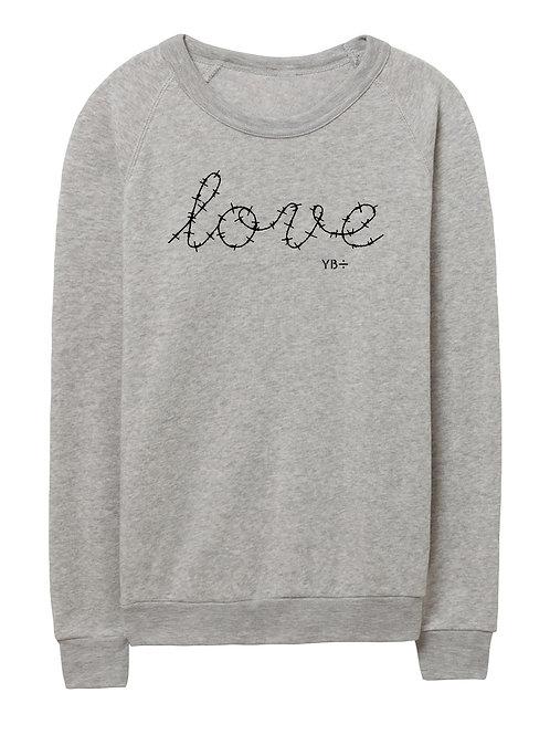 L O V E unisex eco-fleece sweater (light grey)