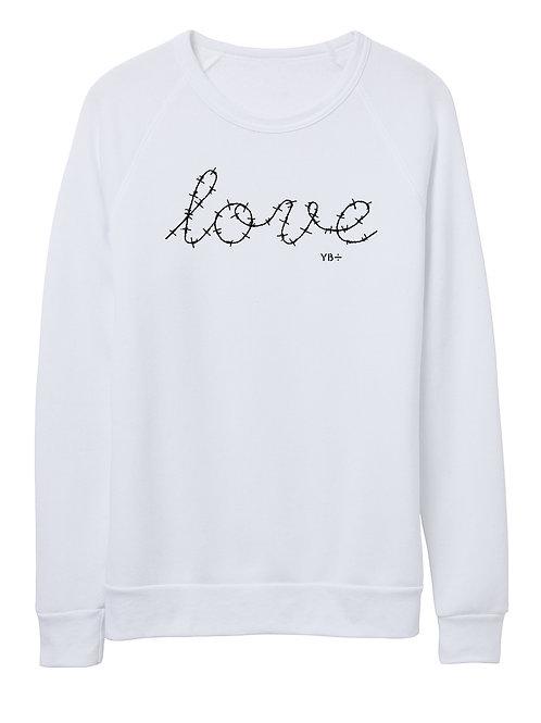 L O V E unisex eco-fleece sweater (white)