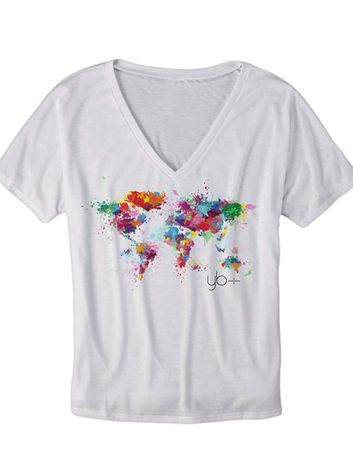 SPLATTER ATLAS slouchy v-neck (white)