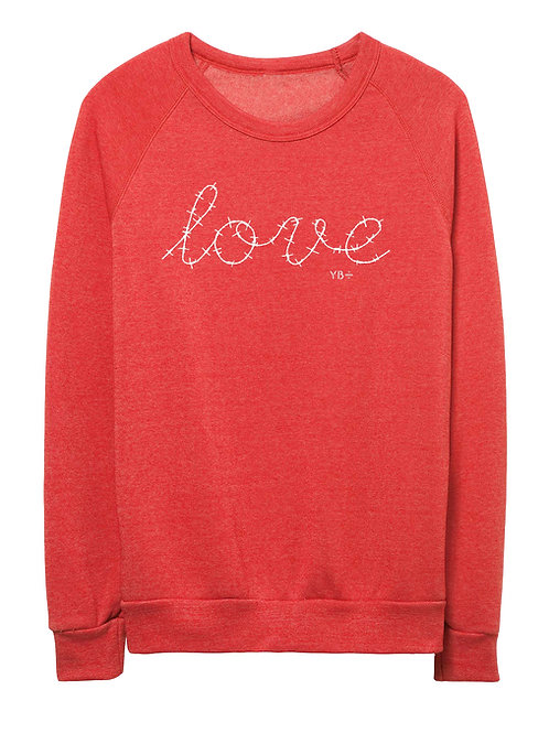 L O V E unisex eco-fleece sweater (red)
