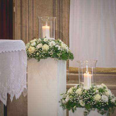 Matrimonio romantico con candele