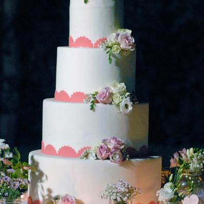 wedding cake bianco e rosa brescia manerbio