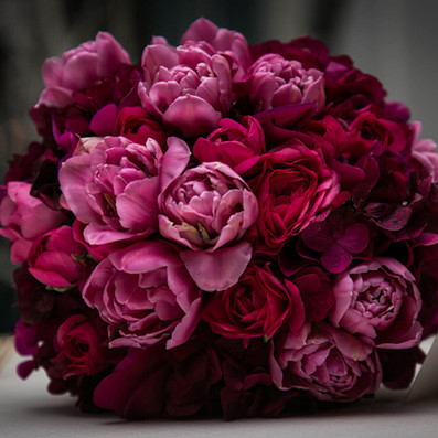 bouquet sposa tulipani ortensie fuxia