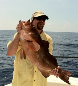 Firetruck Red grouper catch offshore