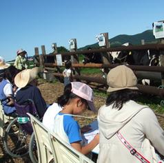 近隣小学生と乳牛の写生会(函館牛乳さん)