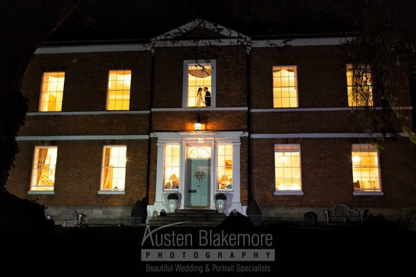 Breedon Hall at night with Carl & Sarah.