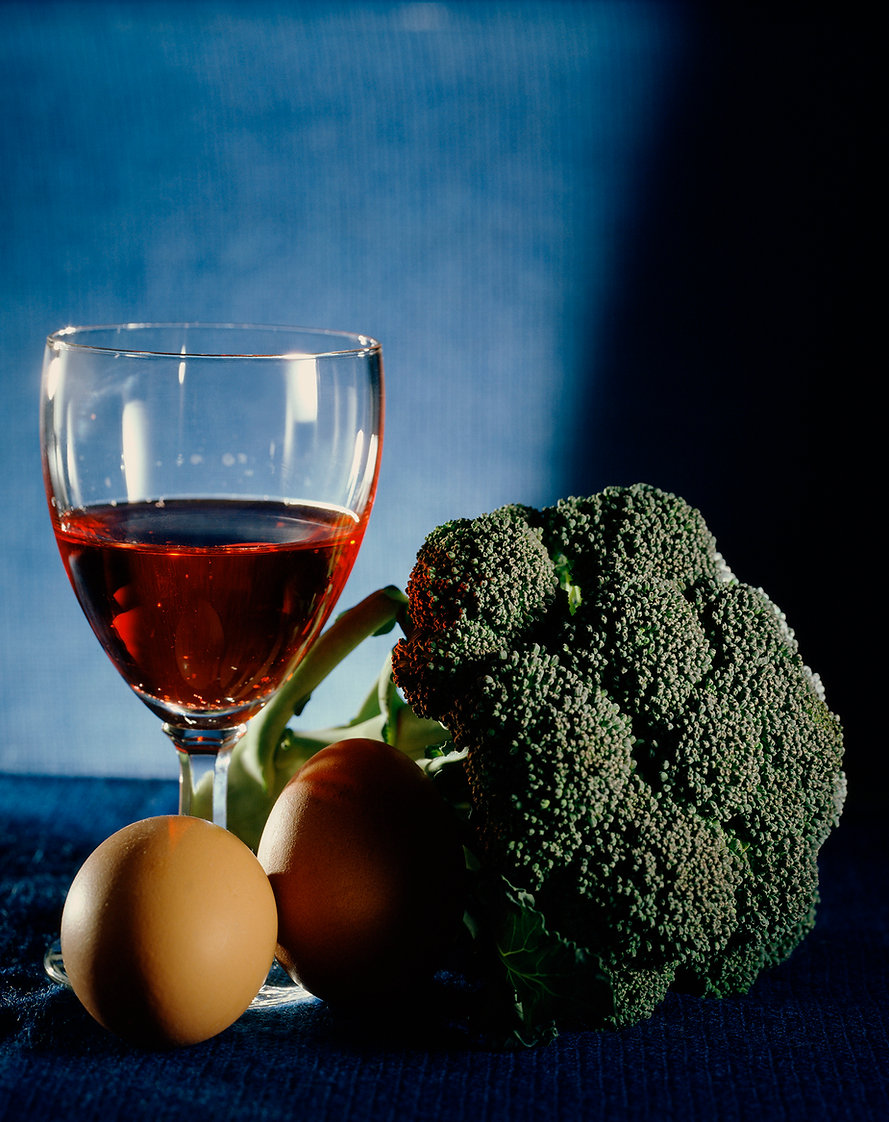 still life wine broccoli