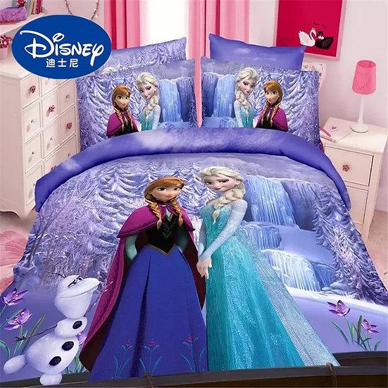 Disney Frozen Bed Sheet Set Twin Single Size Alsa Anna Princess Duvet Cover.