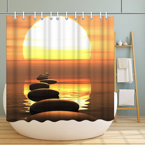 VISUAL BEAUTY 100% Polyester Fabric Shower Curtain Set