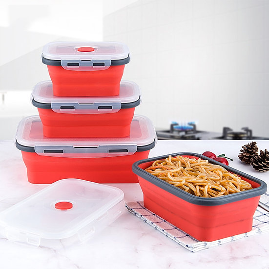 3Pcs Portable Folding Silicone Lunch Box Bowl Sets Food Storage Bento Containers