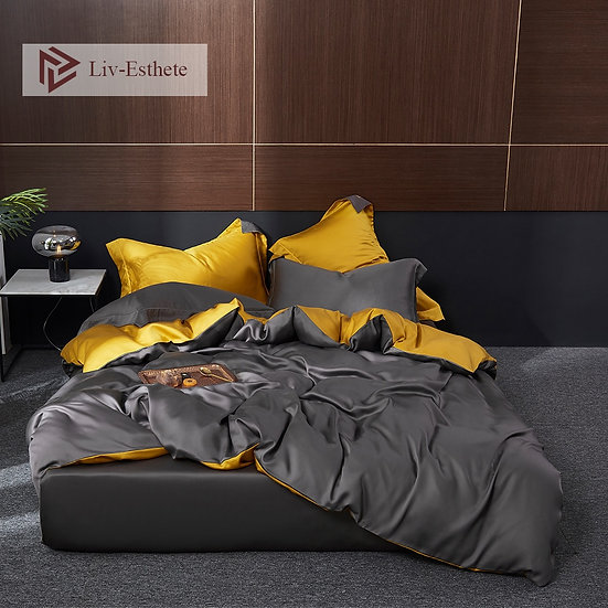Liv-Esthete 100% Silk Bedding Set Luxury Duvet Cover, Fitted Sheet, Pillowcase.