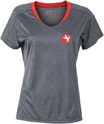 V-Neck Funktions-Shirt Damen , grau