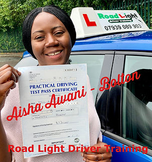 Driving Lessons in Bolton Aisha Awani Driving Test Pass.