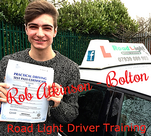 Bolton driving lessons pupil Rob Atkinson passes the driving test.