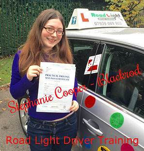 Stephanie Cooper completes her driving lessons in Bolton with a well deserved test pass.