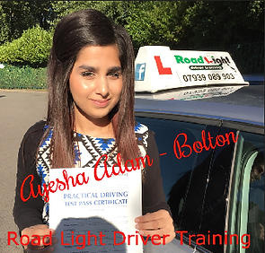 Bolton driving lessons pupil Ayesha Adam passes her test.
