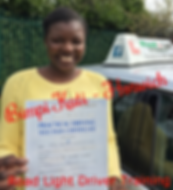 Bolton driving lessons pupil Bimpi Cuti passes the driving test.