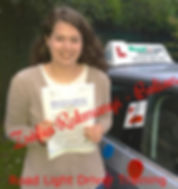 Bolton driving lessons pupil Zófi Rakmanyi passes her test.
