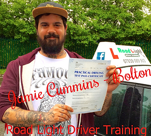 Bolton driving lessons pupil Jamie Cummins passes the driving test.