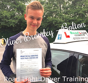 Bolton driving lessons pupil Oliver Bromley passes her test.