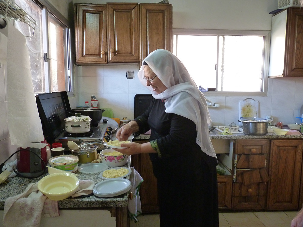 Our Druze Hostess preparing our lunch