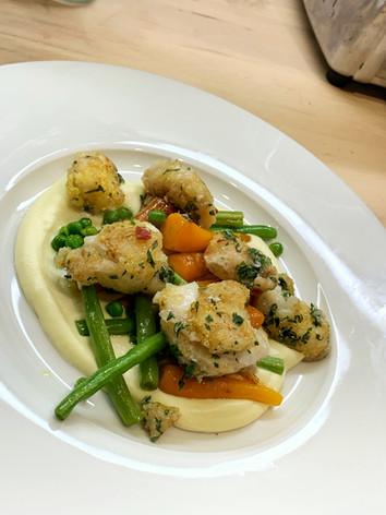 Spiced Cod Cheeks, parsnip puree & vegetables