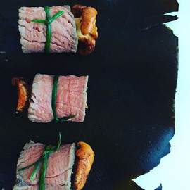 Sous vide rump beef roll with horseradis