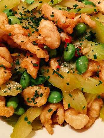 Chicken, celery and edamame stir fry wit