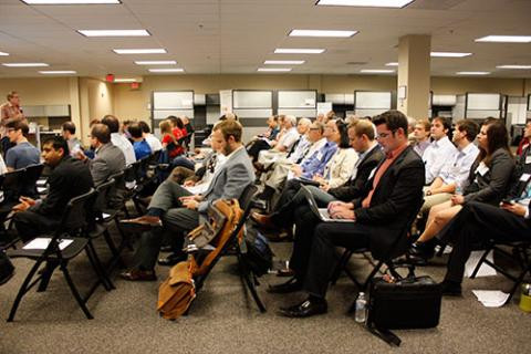 Photo: A packed 2013 Pitch Day at the Arizona Center for Innovation. Credit: The Arizona Center for Innovation.