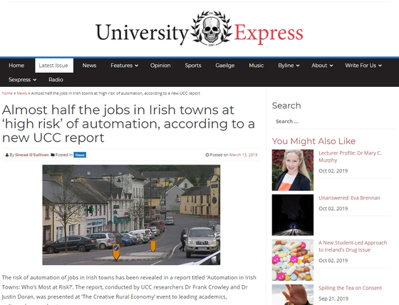 Almost half the jobs in Irish towns at 'high risk' of automation, according to a new UCC report
