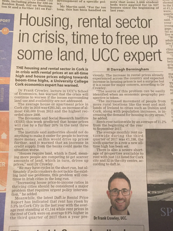 Housing, rental sector in crisis - Evening Echo Piece Nov, 2017