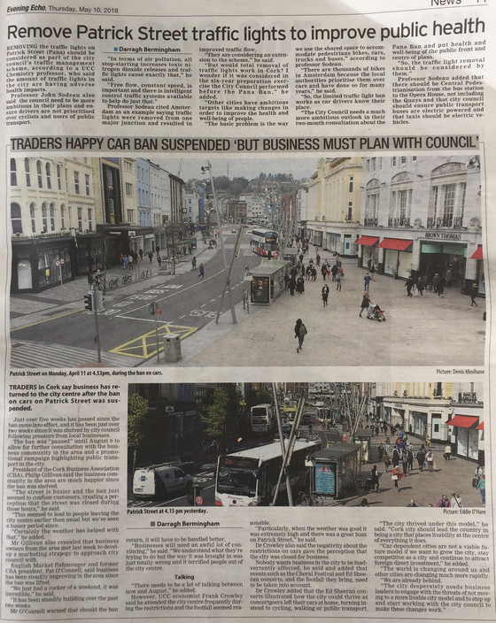 More on St Patrick Street car ban from Evening Echo 11th May 2018