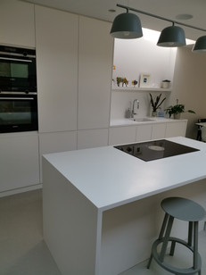modern kitchen with the corian island and integrated appliance