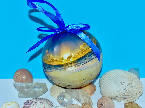 Sunset Beach Bulb Ornament