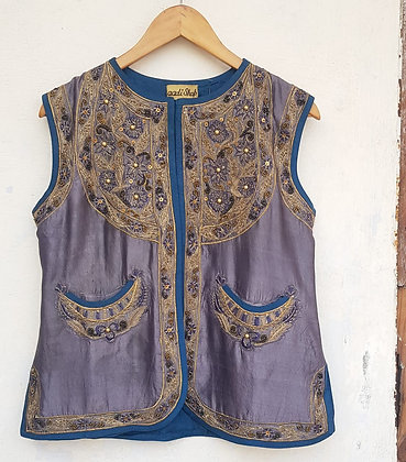 OPAL SILK EMBROIDERED JACKET (MADE TO ORDER)