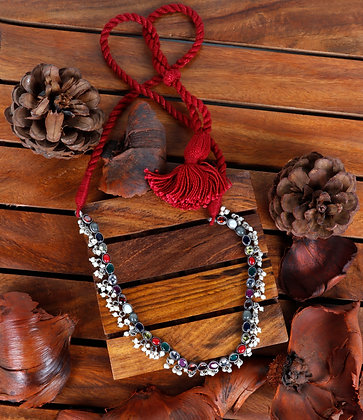 MULTI COLORED STONES AND PEARL NECKLACE