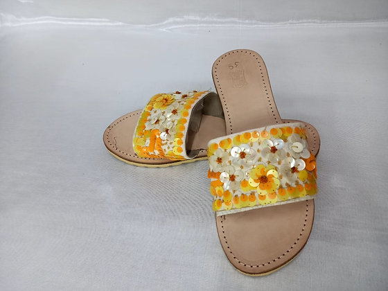 LEATHER EMBROIDERED SLIPONS (MADE TO ORDER)