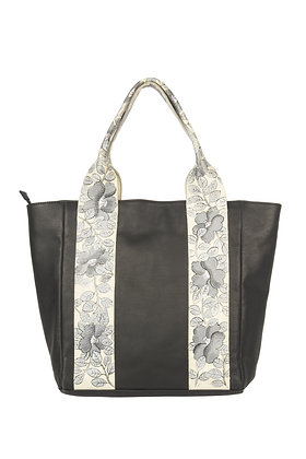 LEATHER HAND BAG WITH FLORAL HAND PAINTED STRAP